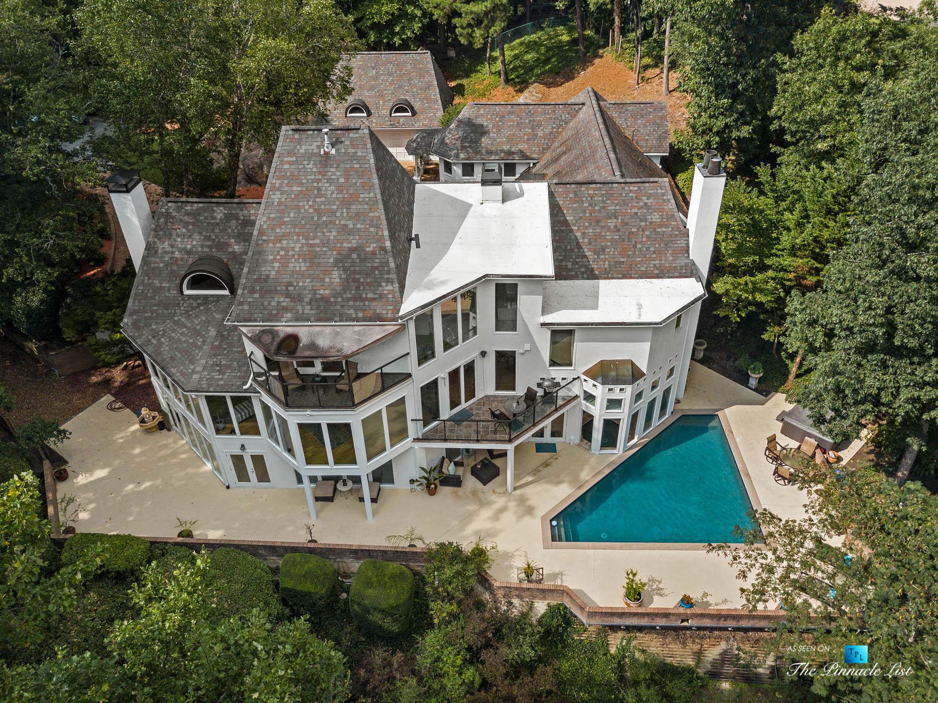 3906 Paces Ferry Rd NW, Atlanta, GA, USA – Drone Aerial Backyard Property View – Luxury Real Estate – Buckhead Home