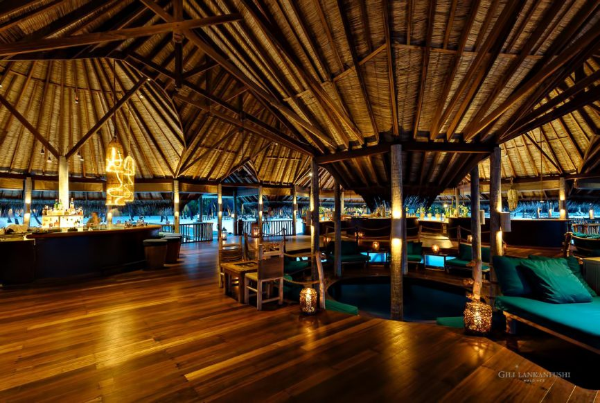 Gili Lankanfushi Luxury Resort - North Male Atoll, Maldives - Overwater Restaurant Dusk