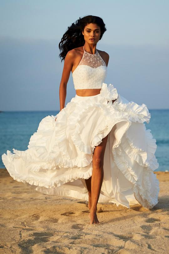 Two-Piece Dresses with Crop Tops and Ball Gown Skirts
