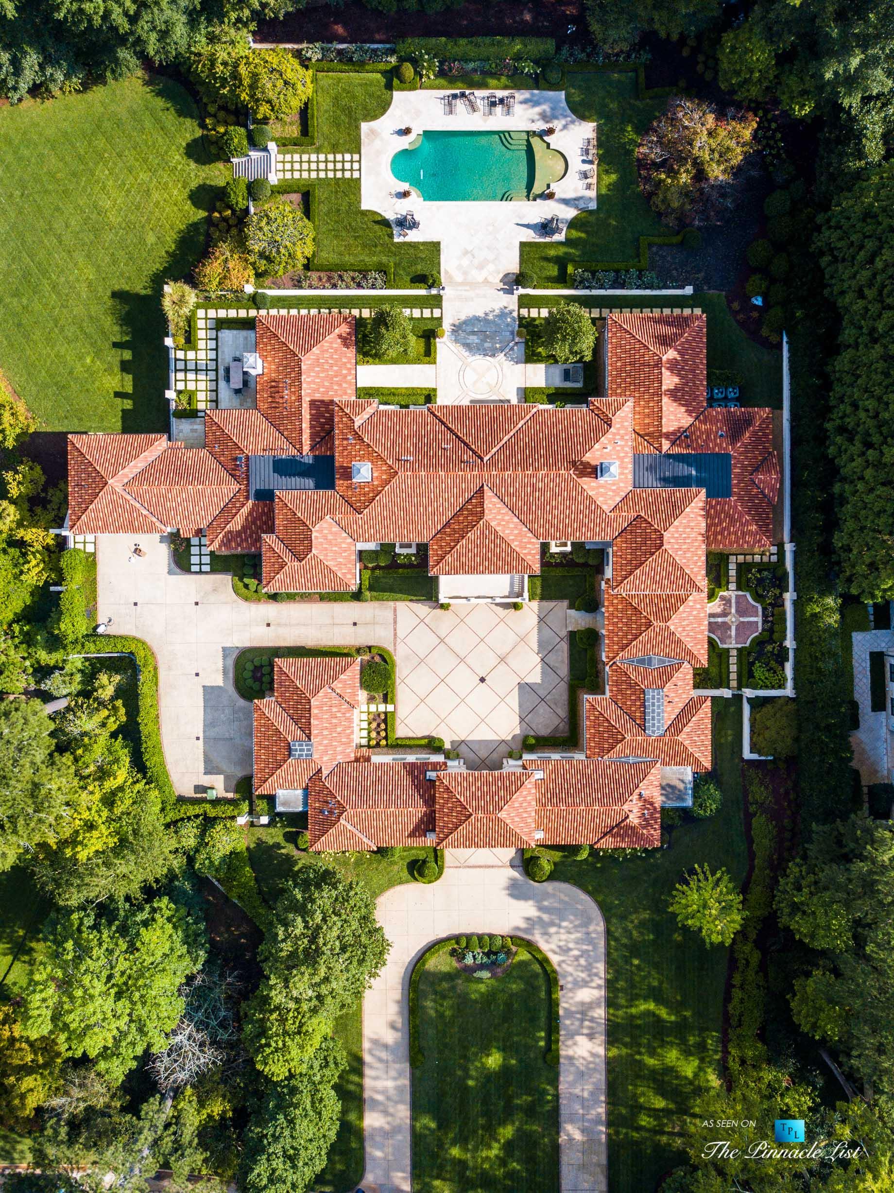 439 Blackland Rd NW, Atlanta, GA, USA - Drone Overhead Aerial View - Luxury Real Estate - Berndsen Custom Mansion Home