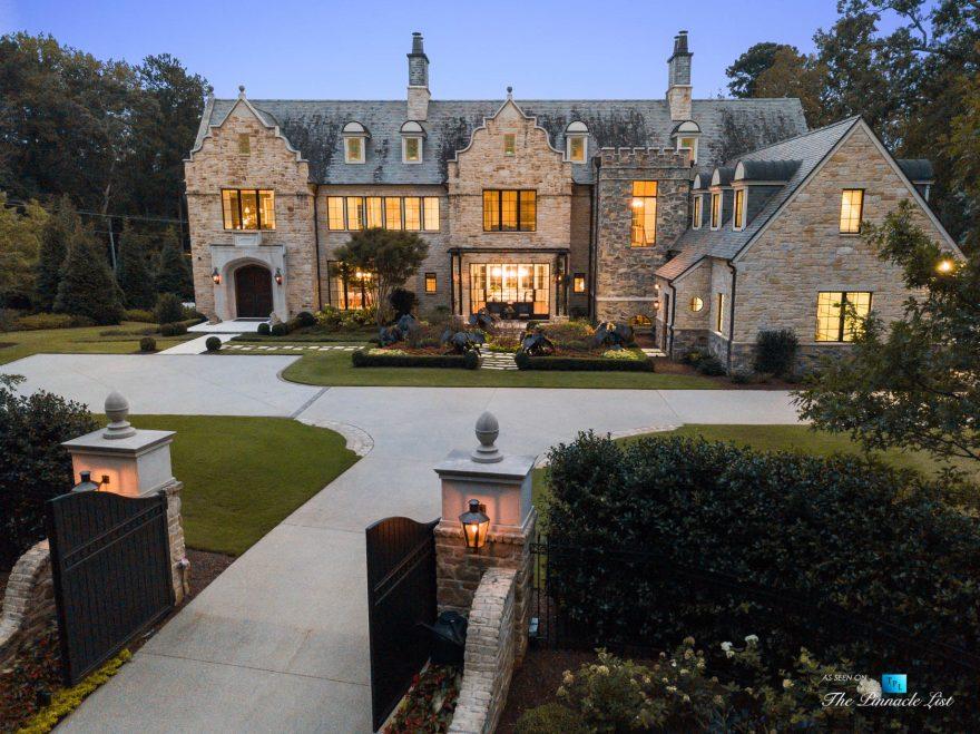 1150 W Garmon Rd, Atlanta, GA, USA - Aerial View Front Gates - Luxury Real Estate - Buckhead Estate Home