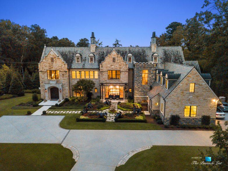 1150 W Garmon Rd, Atlanta, GA, USA - Aerial View Front Driveway - Luxury Real Estate - Buckhead Estate Home