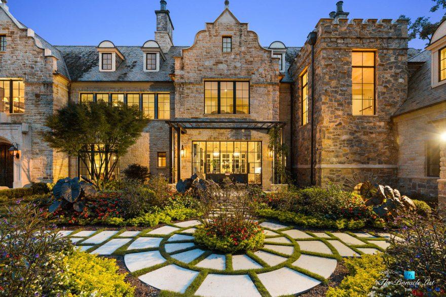 1150 W Garmon Rd, Atlanta, GA, USA - Twilight Front Garden View - Luxury Real Estate - Buckhead Estate Home