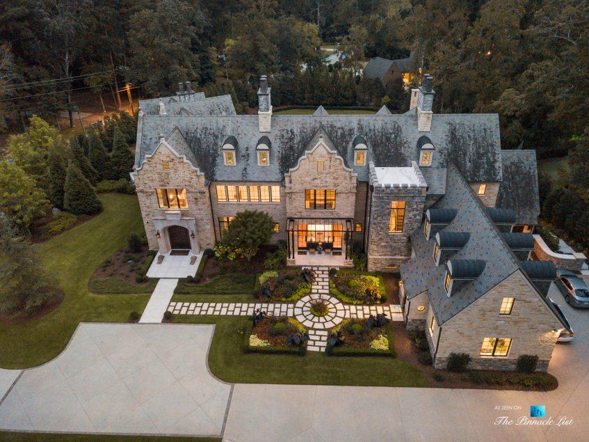 1150 W Garmon Rd, Atlanta, GA, USA - Drone Twilight Aerial View - Luxury Real Estate - Buckhead Estate Home