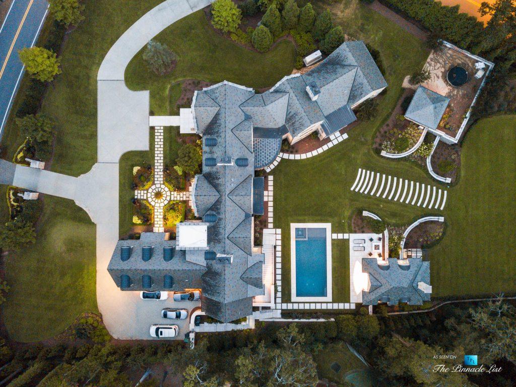 1150 W Garmon Rd, Atlanta, GA, USA - Drone Twilight Overhead View - Luxury Real Estate - Buckhead Estate Home