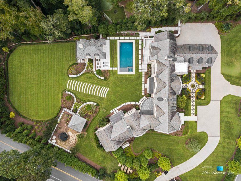 1150 W Garmon Rd, Atlanta, GA, USA - Drone Overhead Aerial Property View - Luxury Real Estate - Buckhead Estate Home
