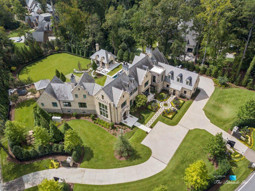 1150 W Garmon Rd, Atlanta, GA, USA - Drone Aerial Property View - Luxury Real Estate - Buckhead Estate Home