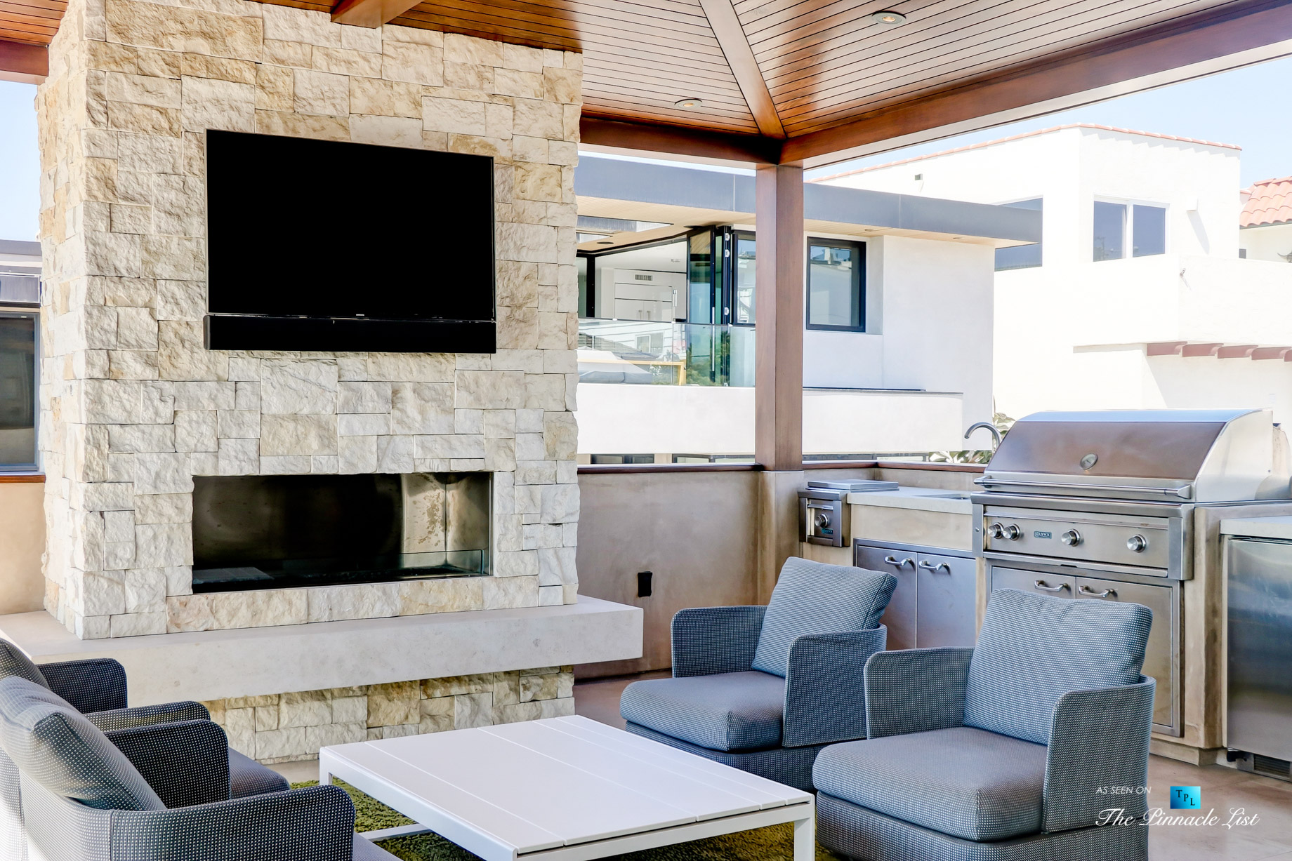 205 20th Street, Manhattan Beach, CA, USA – Back Deck Fireplace – Luxury Real Estate – Ocean View Home