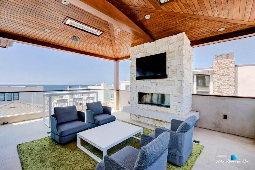 205 20th Street, Manhattan Beach, CA, USA - Back Deck Fireplace - Luxury Real Estate - Ocean View Home
