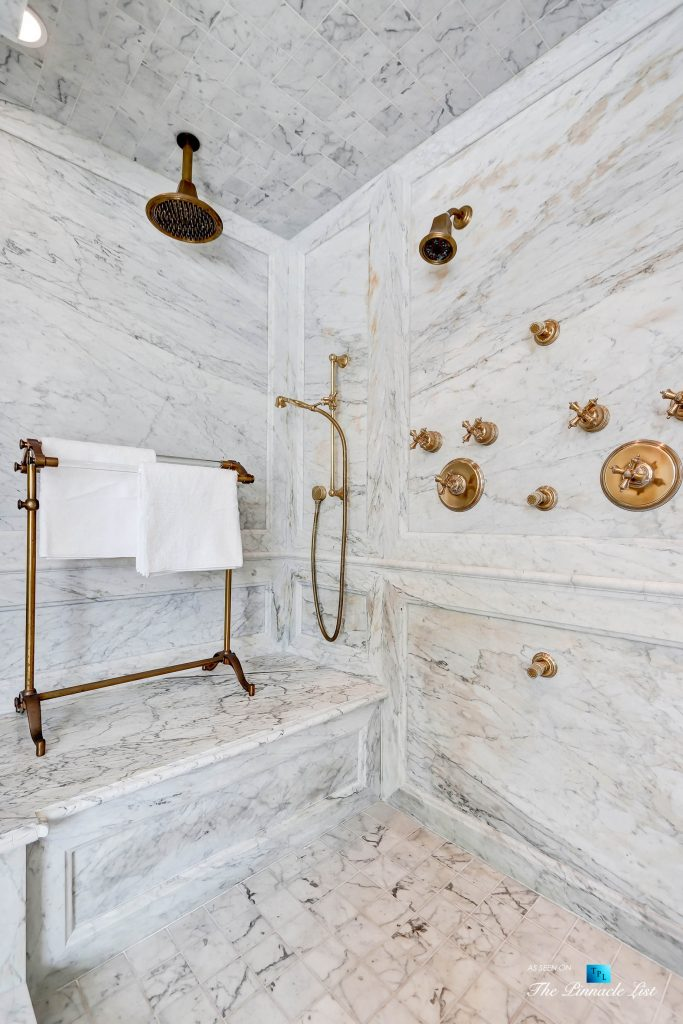 2806 The Strand, Hermosa Beach, CA, USA - Master Bathroom Marble Shower - Luxury Real Estate - Oceanfront Home