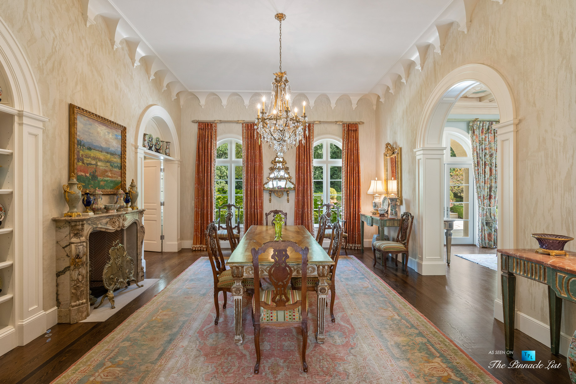 439 Blackland Rd NW, Atlanta, GA, USA – Formal Dining Room with Fireplace – Luxury Real Estate – Tuxedo Park Mediterranean Mansion Home