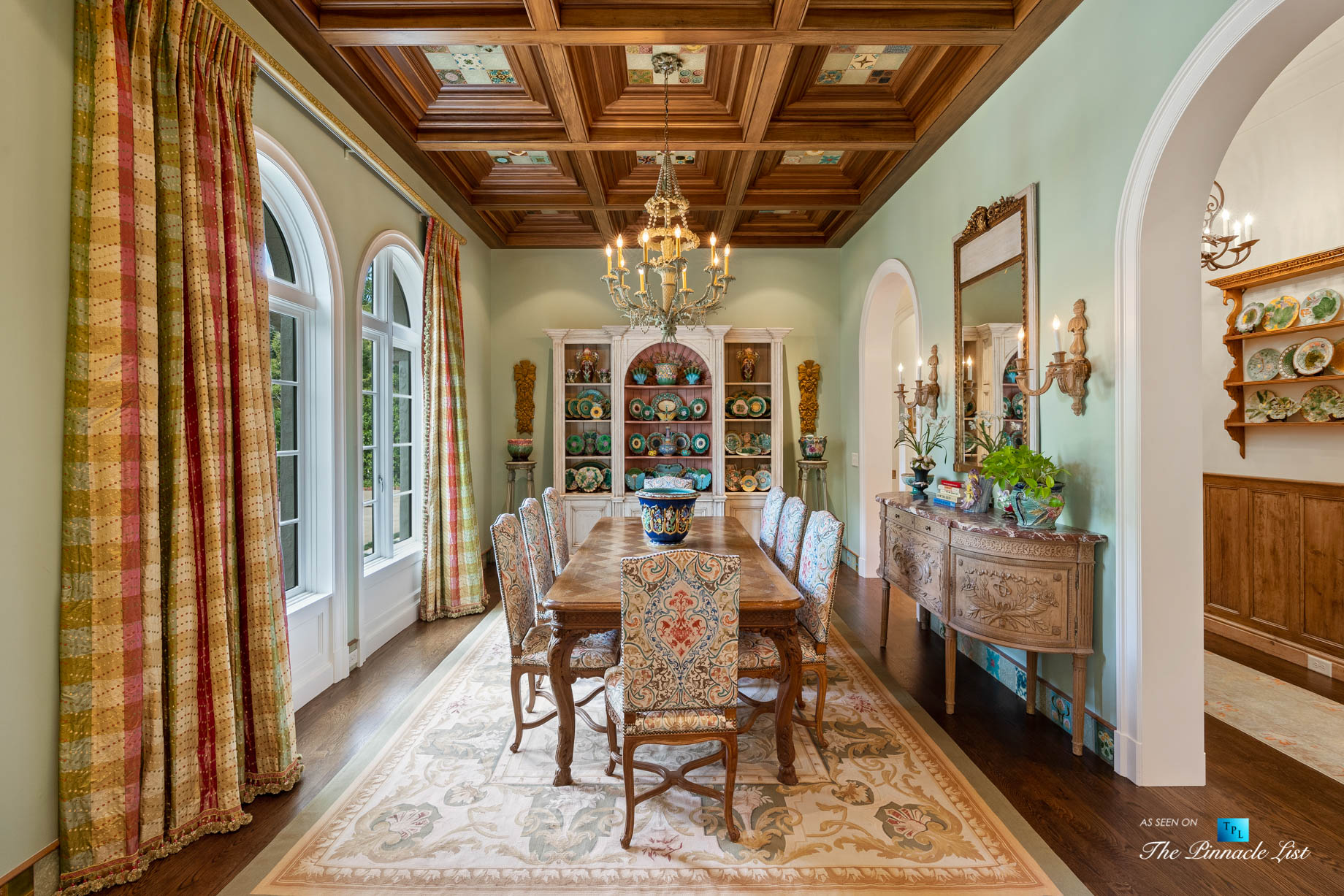 439 Blackland Rd NW, Atlanta, GA, USA - Dining Room with Wood Ceiling - Luxury Real Estate - Tuxedo Park Mediterranean Mansion Home
