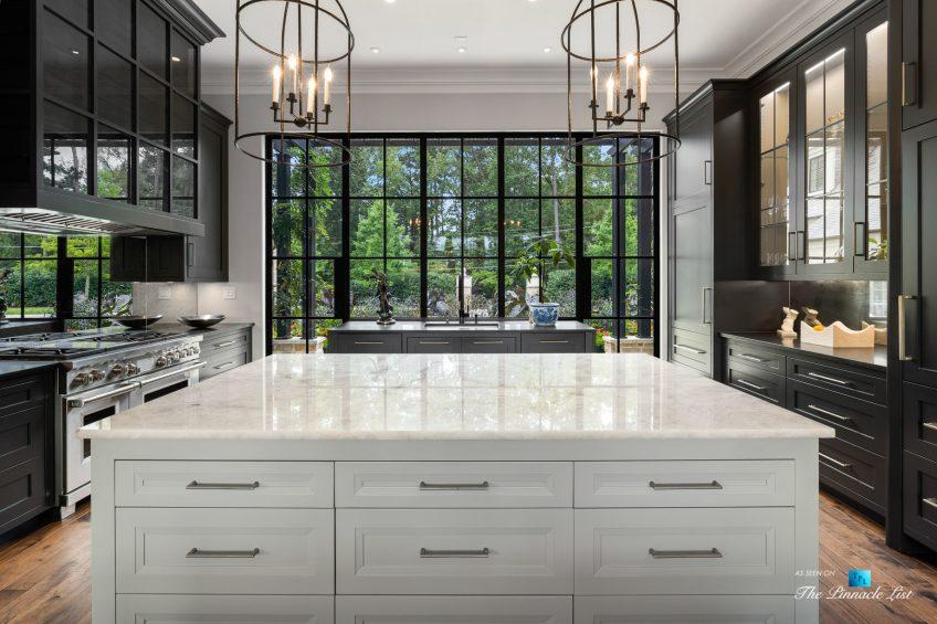 1150 W Garmon Rd, Atlanta, GA, USA - Formal Kitchen Island with View - Luxury Real Estate - Buckhead Estate Home