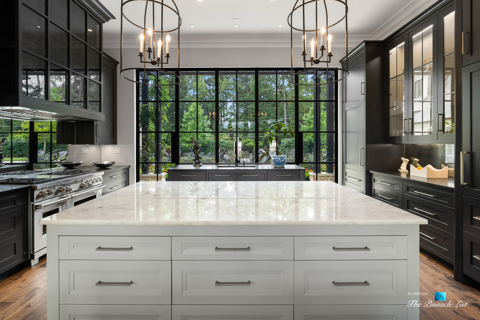 1150 W Garmon Rd, Atlanta, GA, USA – Formal Kitchen Island with View – Luxury Real Estate – Buckhead Estate Home