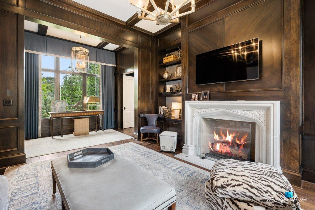 1150 W Garmon Rd, Atlanta, GA, USA - Sitting Room with Fireplace - Luxury Real Estate - Buckhead Estate Home