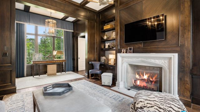1150 W Garmon Rd, Atlanta, GA, USA - Sitting Room with Fireplace - Luxury Real Estate - Buckhead Estate Home