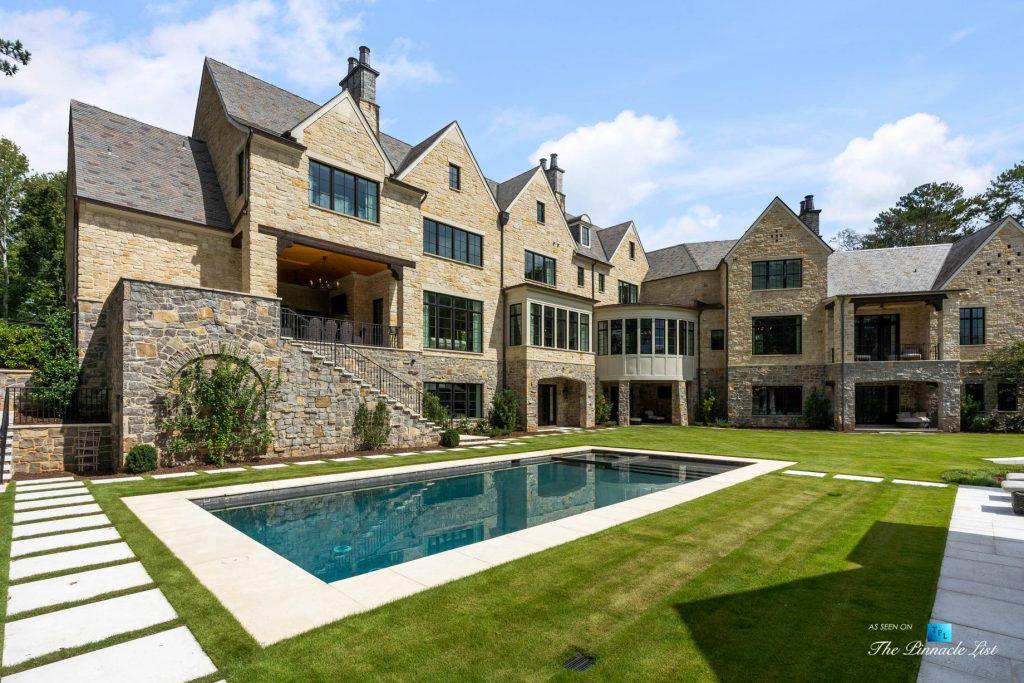 1150 W Garmon Rd, Atlanta, GA, USA - Rear Yard Grounds with Pool - Luxury Real Estate - Buckhead Estate Home