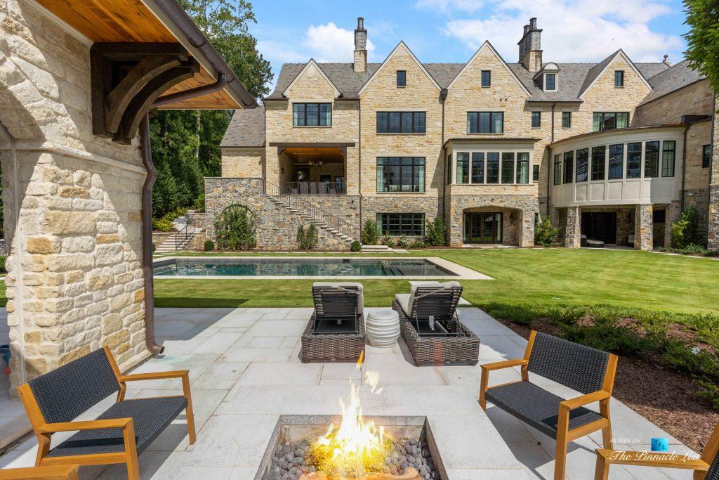 1150 W Garmon Rd, Atlanta, GA, USA - Backyard Fire Pit Patio with Pool - Luxury Real Estate - Buckhead Estate Home