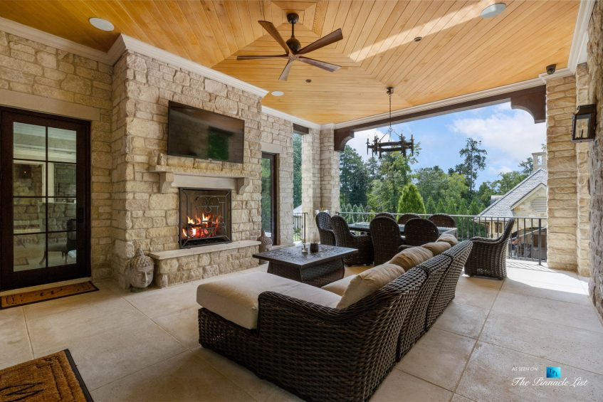 1150 W Garmon Rd, Atlanta, GA, USA - Exterior Covered Deck - Luxury Real Estate - Buckhead Estate Home