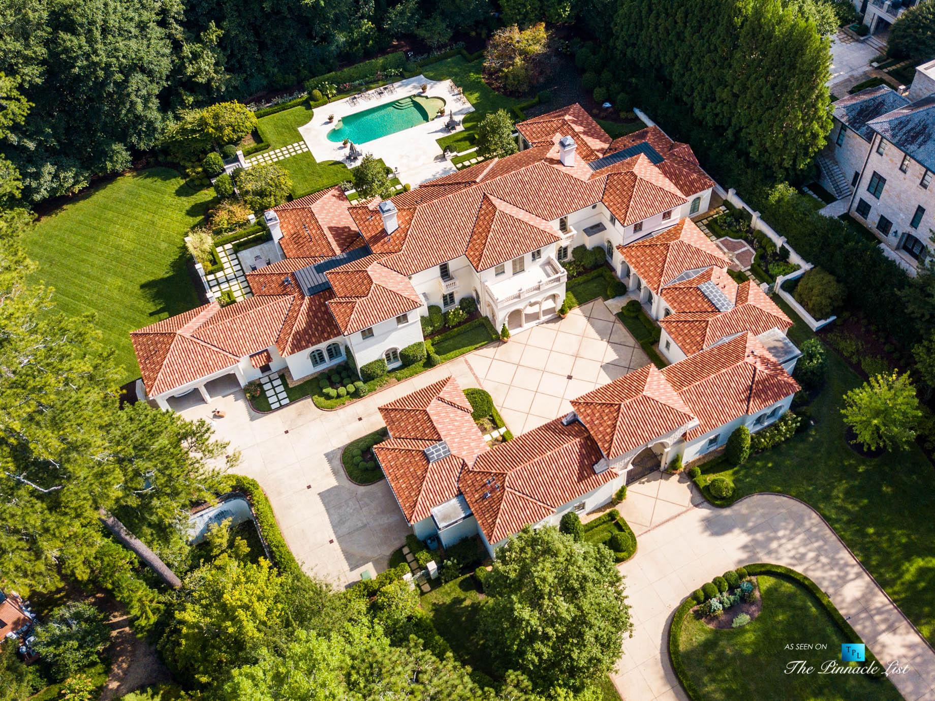 439 Blackland Rd NW, Atlanta, GA, USA – Drone Aerial Property View – Luxury Real Estate – Tuxedo Park Mediterranean Mansion Home