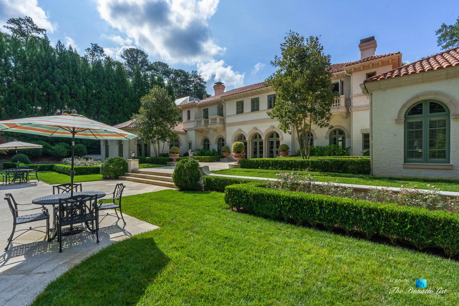 439 Blackland Rd NW, Atlanta, GA, USA – Property Backyard Landscaping Detail – Luxury Real Estate – Tuxedo Park Mediterranean Mansion Home