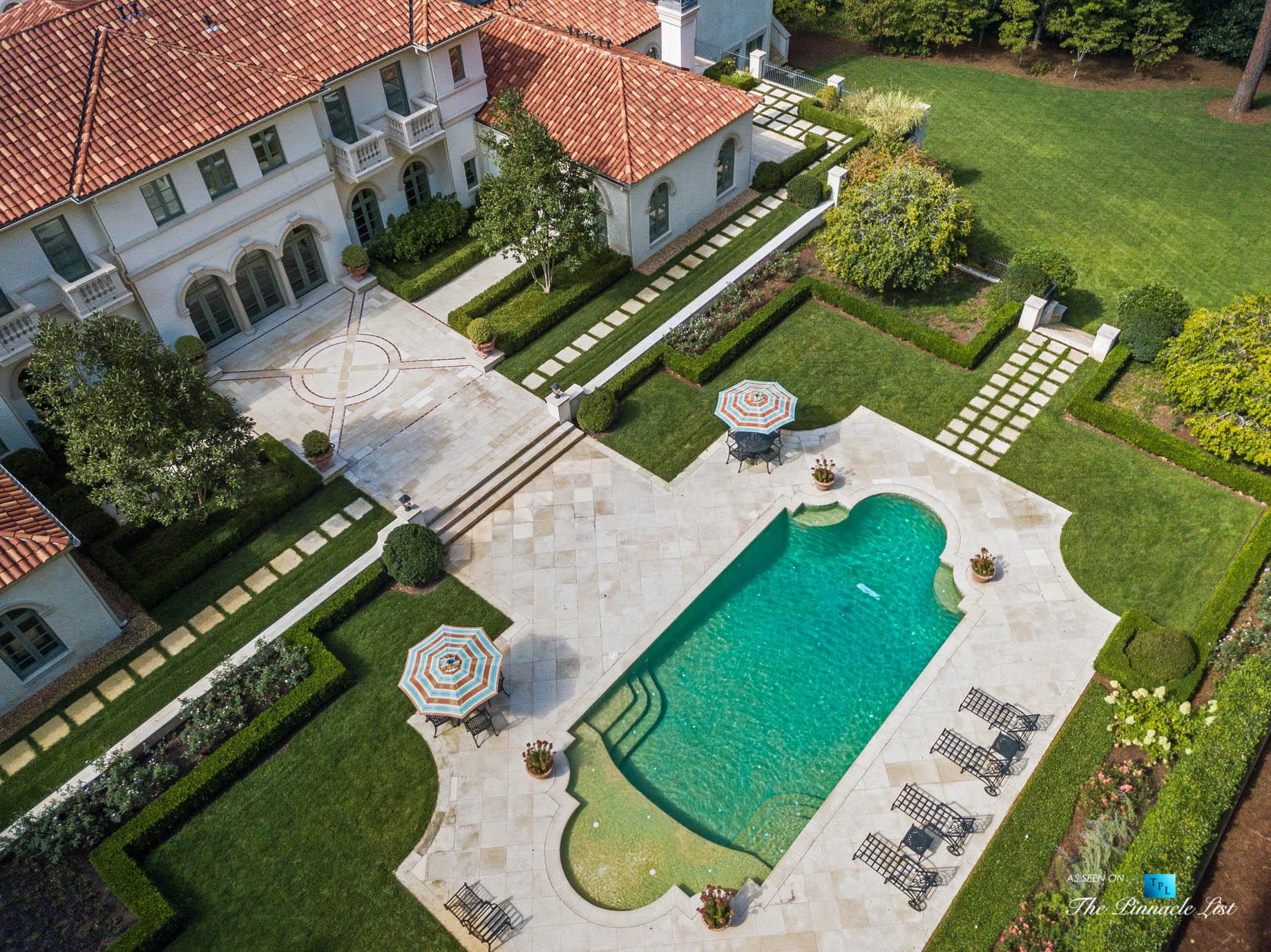 439 Blackland Rd NW, Atlanta, GA, USA – Drone Aerial Property Pool View – Luxury Real Estate – Tuxedo Park Mediterranean Mansion Home