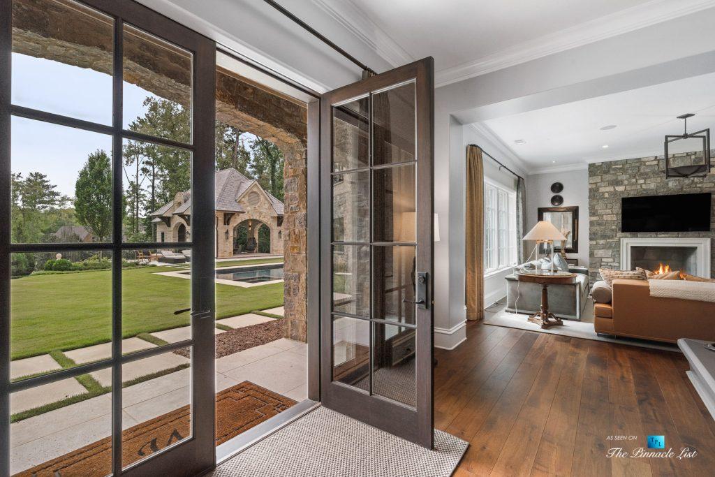 1150 W Garmon Rd, Atlanta, GA, USA - Recreation Room Exterior Glass Doors - Luxury Real Estate - Buckhead Estate Home