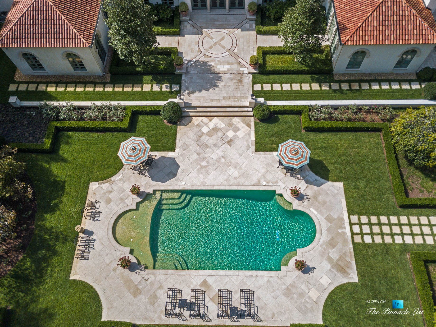 439 Blackland Rd NW, Atlanta, GA, USA – Drone Aerial View Luxurious Property Pool – Luxury Real Estate – Tuxedo Park Mediterranean Mansion Home
