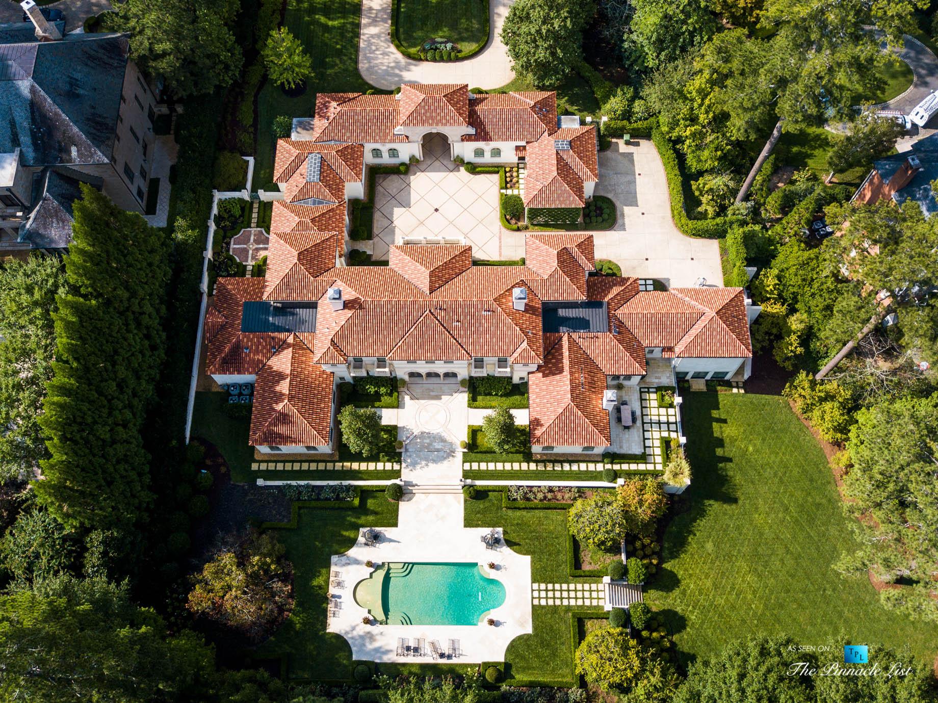 439 Blackland Rd NW, Atlanta, GA, USA – Drone Aerial View Luxurious Property – Luxury Real Estate – Tuxedo Park Mediterranean Mansion Home