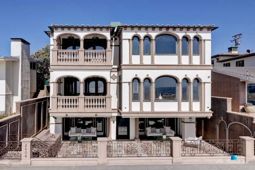 2806 The Strand, Hermosa Beach, CA, USA - Drone Aerial Front View - Luxury Real Estate - Oceanfront Home
