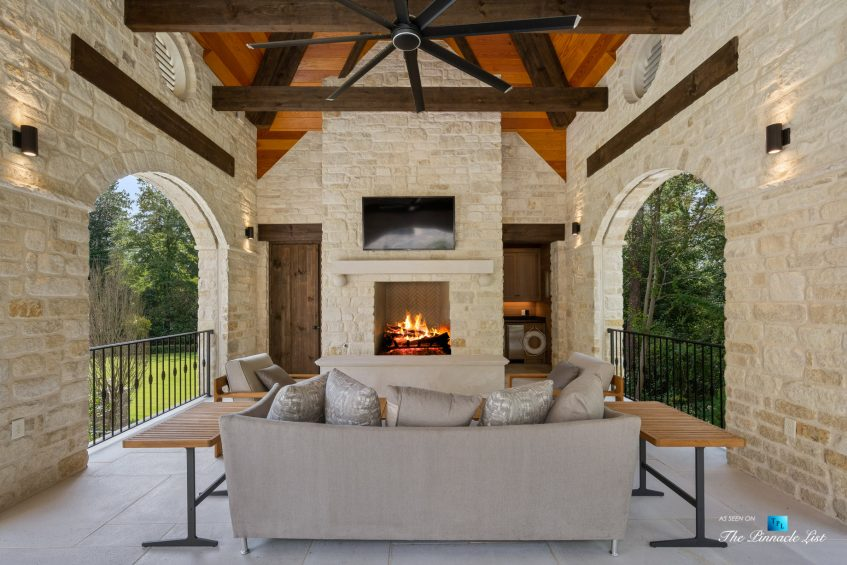 1150 W Garmon Rd, Atlanta, GA, USA - Outdoor Covered Patio with Fireplace - Luxury Real Estate - Buckhead Estate Home
