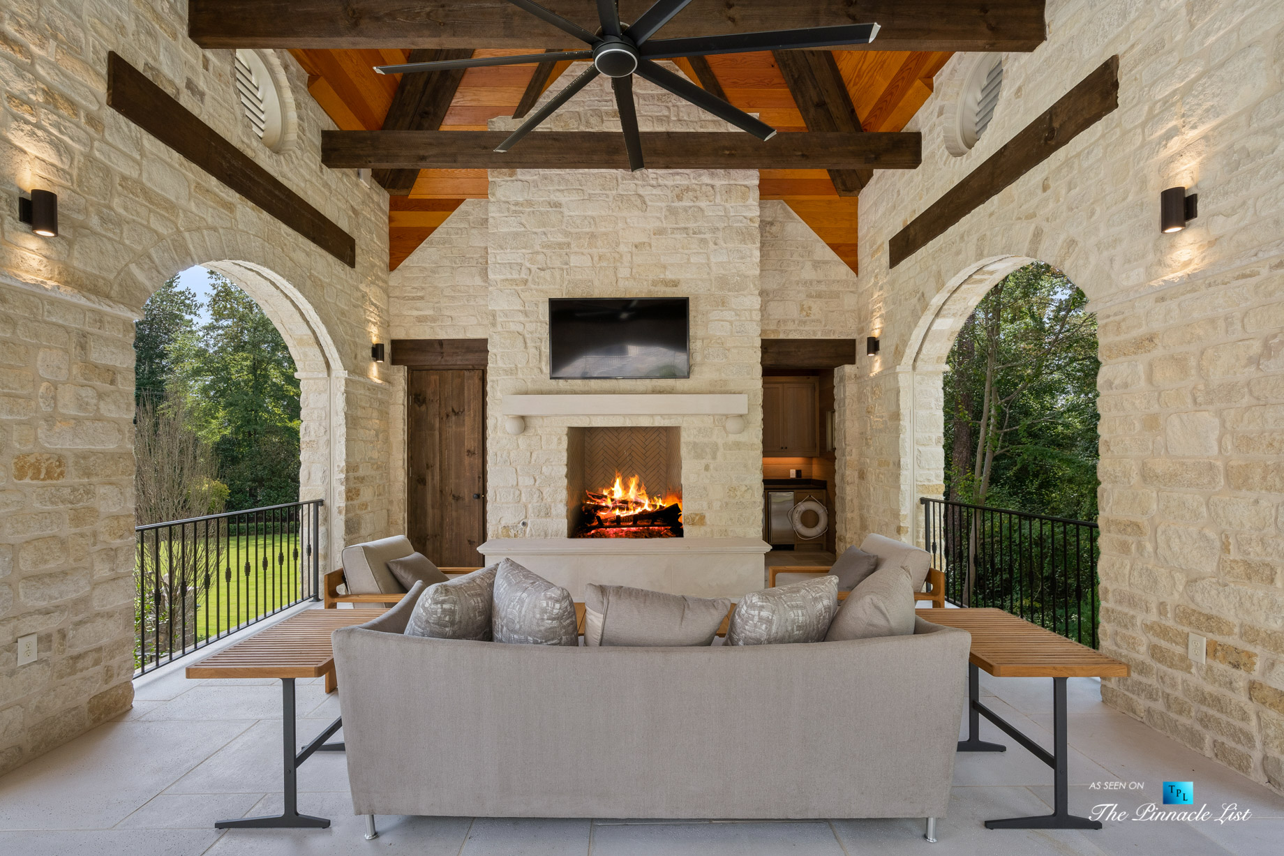 1150 W Garmon Rd, Atlanta, GA, USA – Outdoor Covered Patio with Fireplace – Luxury Real Estate – Buckhead Estate Home
