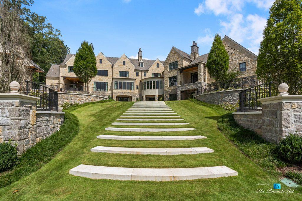1150 W Garmon Rd, Atlanta, GA, USA - Property Backyard Stairs in Grass - Luxury Real Estate - Buckhead Estate House