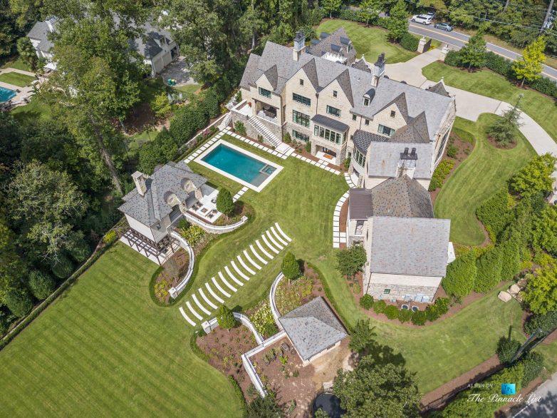 1150 W Garmon Rd, Atlanta, GA, USA - Drone View of Property Backyard - Luxury Real Estate - Buckhead Estate House