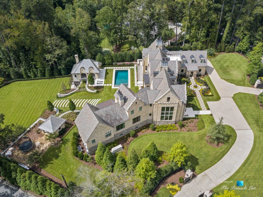 1150 W Garmon Rd, Atlanta, GA, USA - Drone View of Property - Luxury Real Estate - Buckhead Estate House