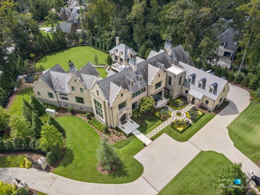 1150 W Garmon Rd, Atlanta, GA, USA - Drone Aerial View of Property - Luxury Real Estate - Buckhead Estate House