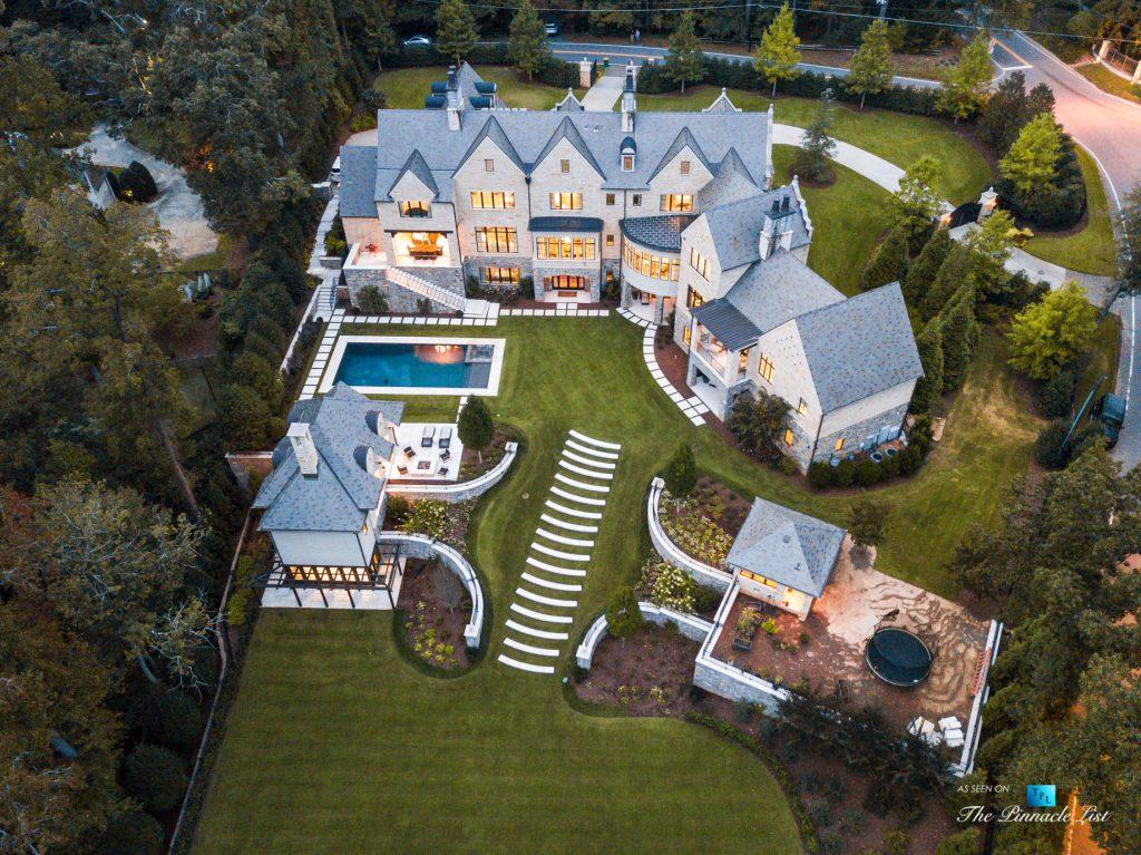 1150 W Garmon Rd, Atlanta, GA, USA - Sunset Drone Aerial Property View - Luxury Real Estate - Buckhead Estate House