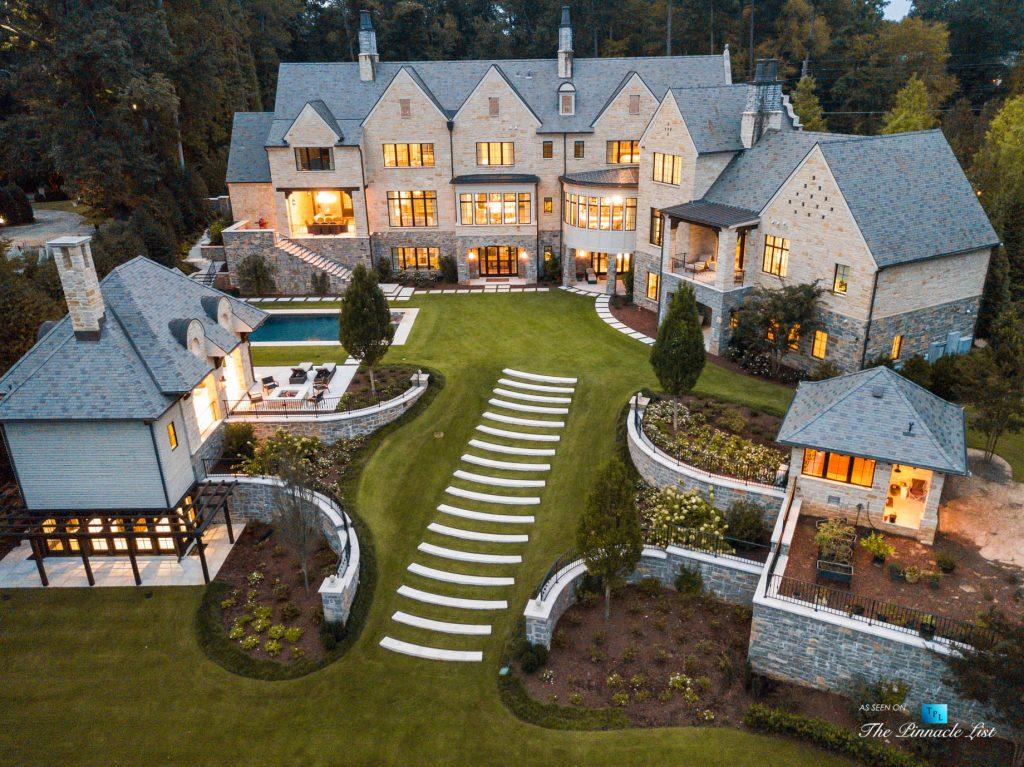 1150 W Garmon Rd, Atlanta, GA, USA - Sunset Drone Aerial Backyard Property View - Luxury Real Estate - Buckhead Estate House