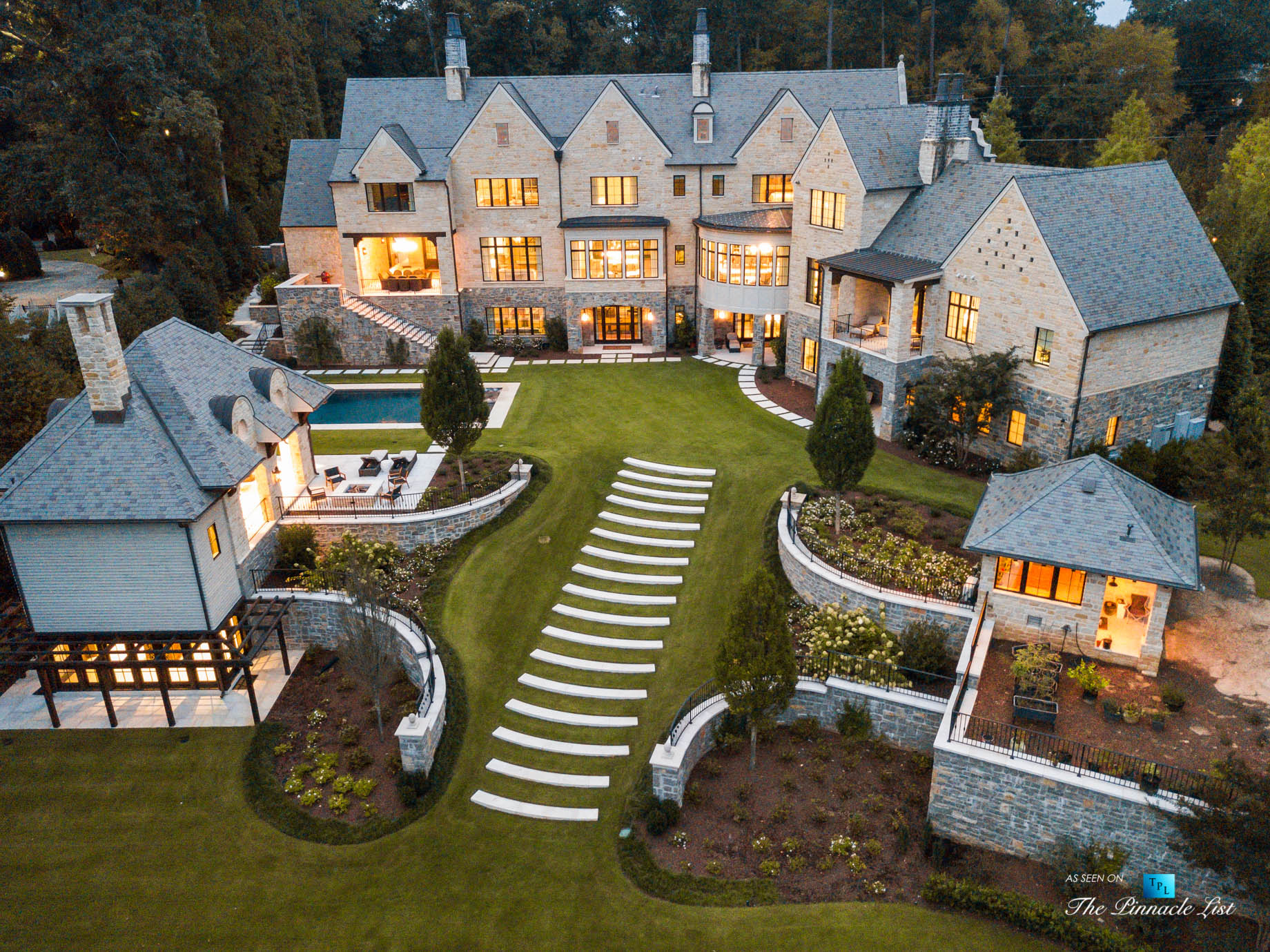 1150 W Garmon Rd, Atlanta, GA, USA – Sunset Drone Aerial Backyard Property View – Luxury Real Estate – Buckhead Estate House