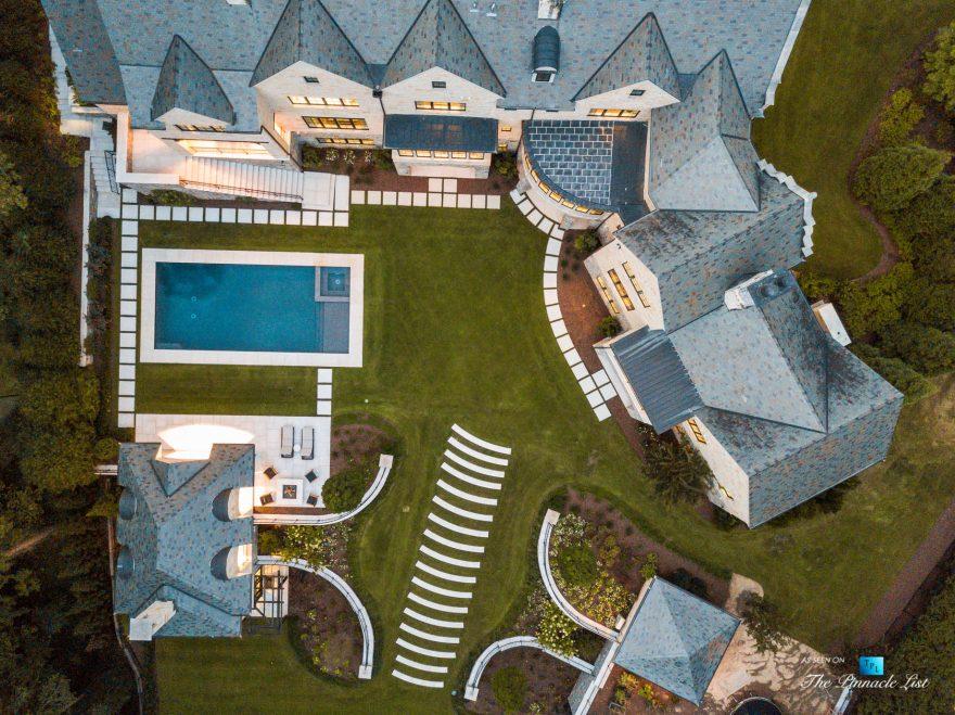 1150 W Garmon Rd, Atlanta, GA, USA - Sunset Drone Aerial Overhead Backyard Property View - Luxury Real Estate - Buckhead Estate House