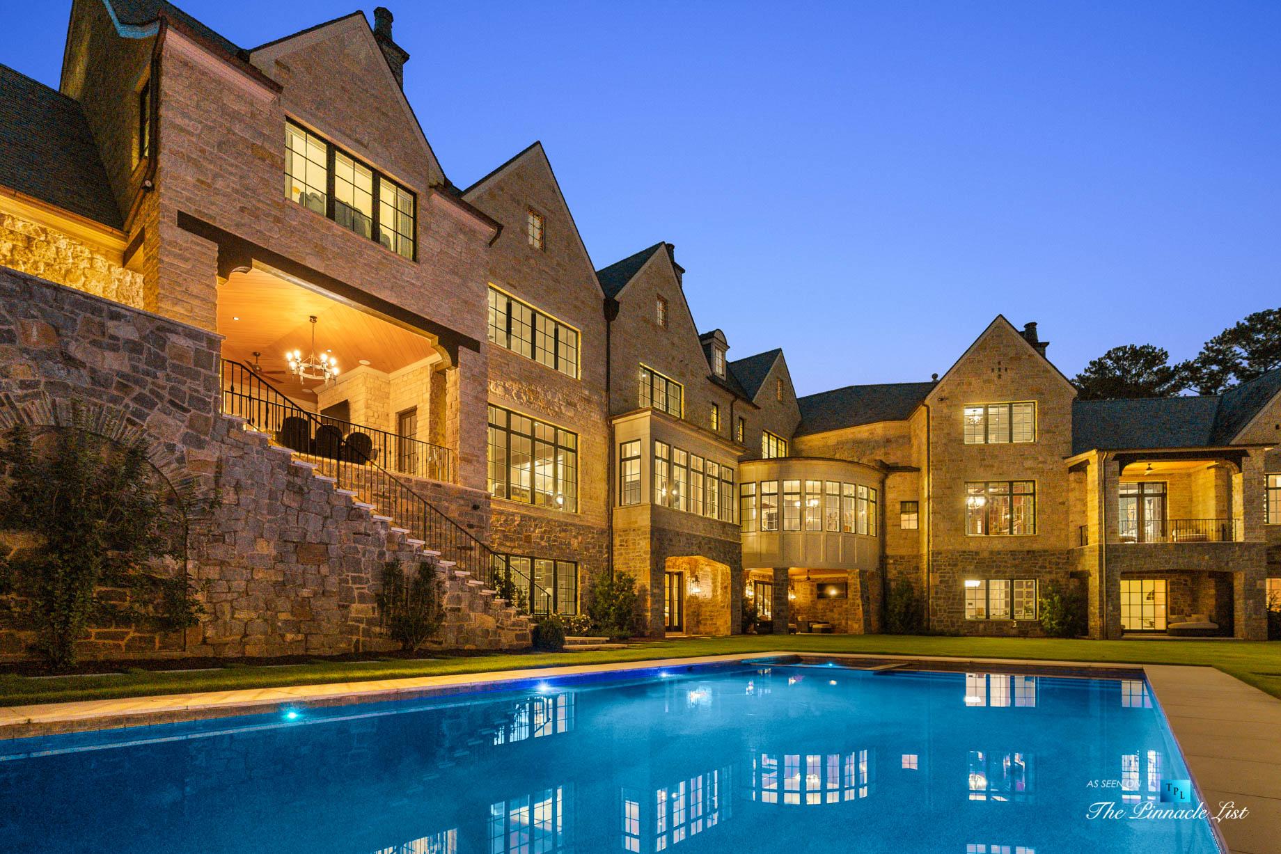 1150 W Garmon Rd, Atlanta, GA, USA – Backyard Pool at Night – Luxury Real Estate – Buckhead Estate House