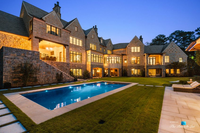 1150 W Garmon Rd, Atlanta, GA, USA - Backyard Pool Deck at Night - Luxury Real Estate - Buckhead Estate House