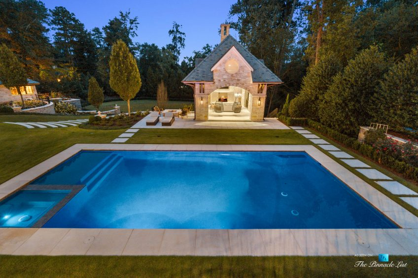 1150 W Garmon Rd, Atlanta, GA, USA - Backyard Pool at Night - Luxury Real Estate - Buckhead Estate House