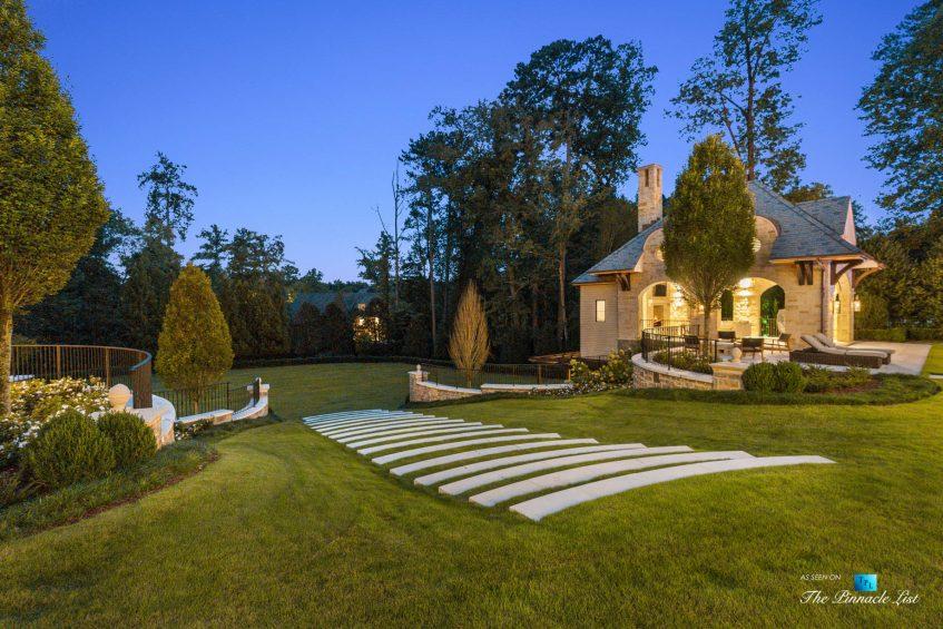1150 W Garmon Rd, Atlanta, GA, USA - Backyard Property Grounds at Night - Luxury Real Estate - Buckhead Estate House
