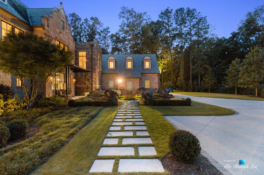 1150 W Garmon Rd, Atlanta, GA, USA - Front Property Grounds at Night - Luxury Real Estate - Buckhead Estate House