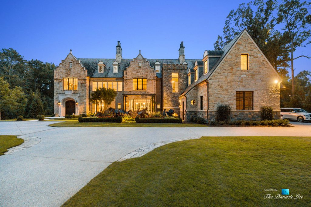 1150 W Garmon Rd, Atlanta, GA, USA - Front Property Grounds Driveway at Night - Luxury Real Estate - Buckhead Estate House