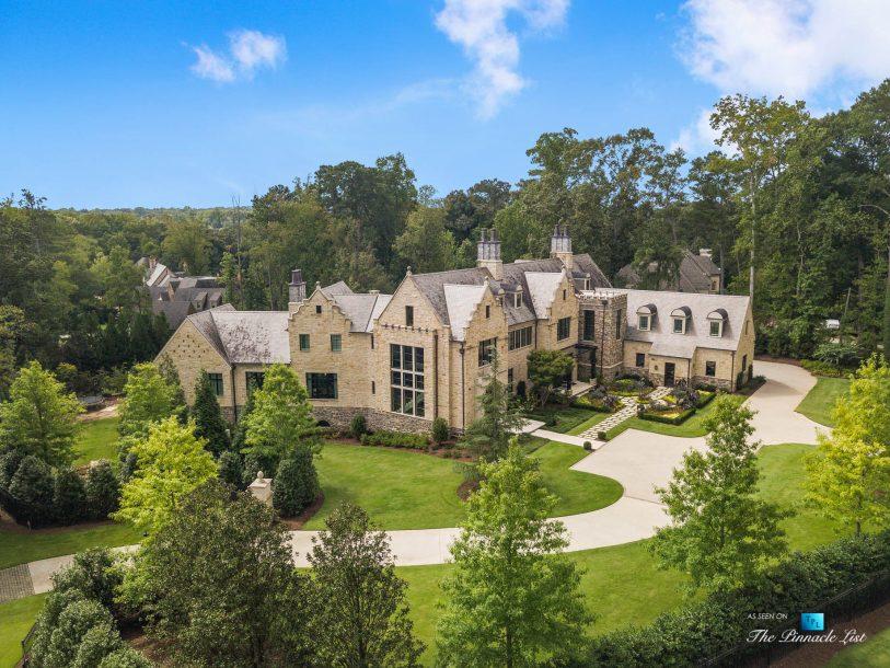 1150 W Garmon Rd, Atlanta, GA, USA - Drone Front Property Grounds Driveway - Luxury Real Estate - Buckhead Estate House