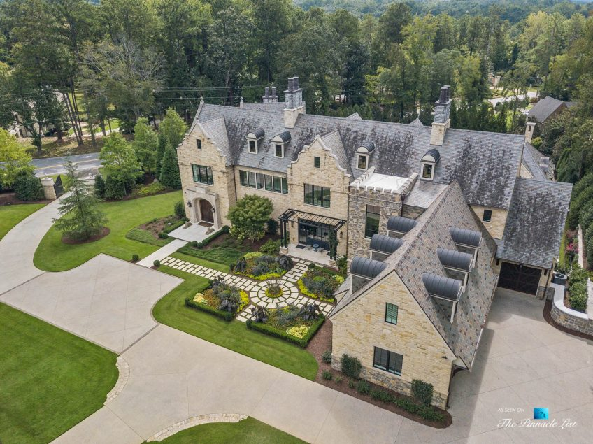 1150 W Garmon Rd, Atlanta, GA, USA - Drone Aerial View Front Property Grounds Driveway - Luxury Real Estate - Buckhead Estate House