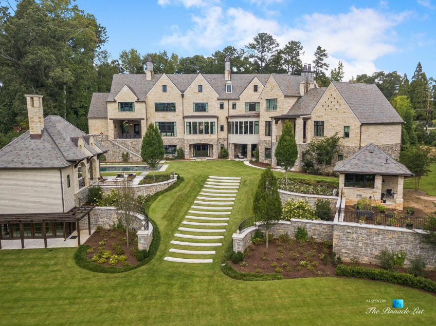 1150 W Garmon Rd, Atlanta, GA, USA - Drone Aerial Backyard Property View - Luxury Real Estate - Buckhead Estate House