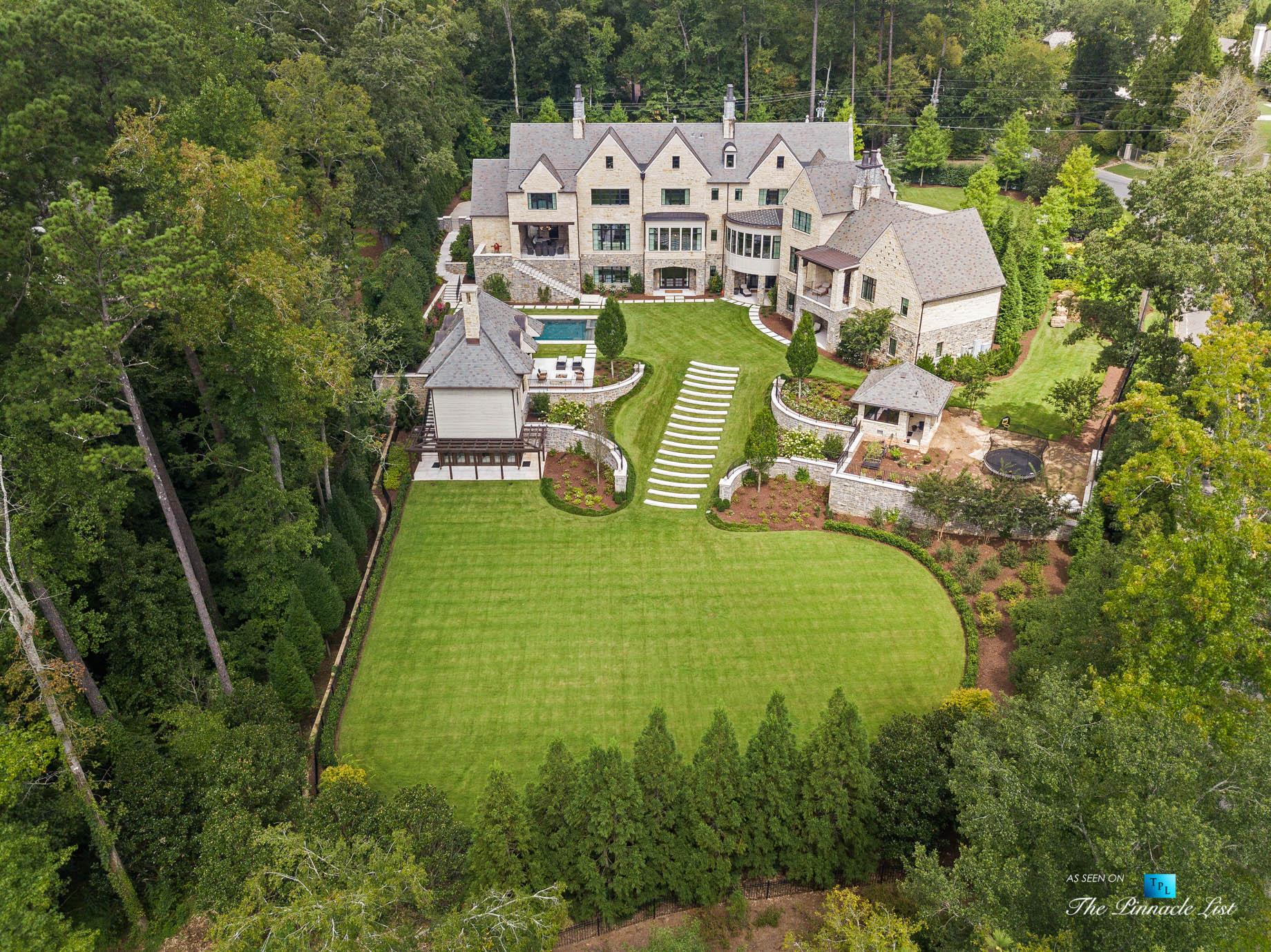 1150 W Garmon Rd, Atlanta, GA, USA – Drone Aerial Backyard Property Grounds View – Luxury Real Estate – Buckhead Estate House